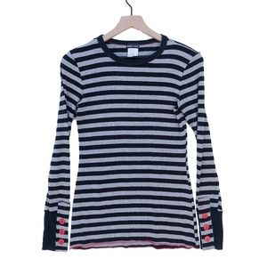 Wet Seal Black and Grey Stripe Long Sleeve Shirt M